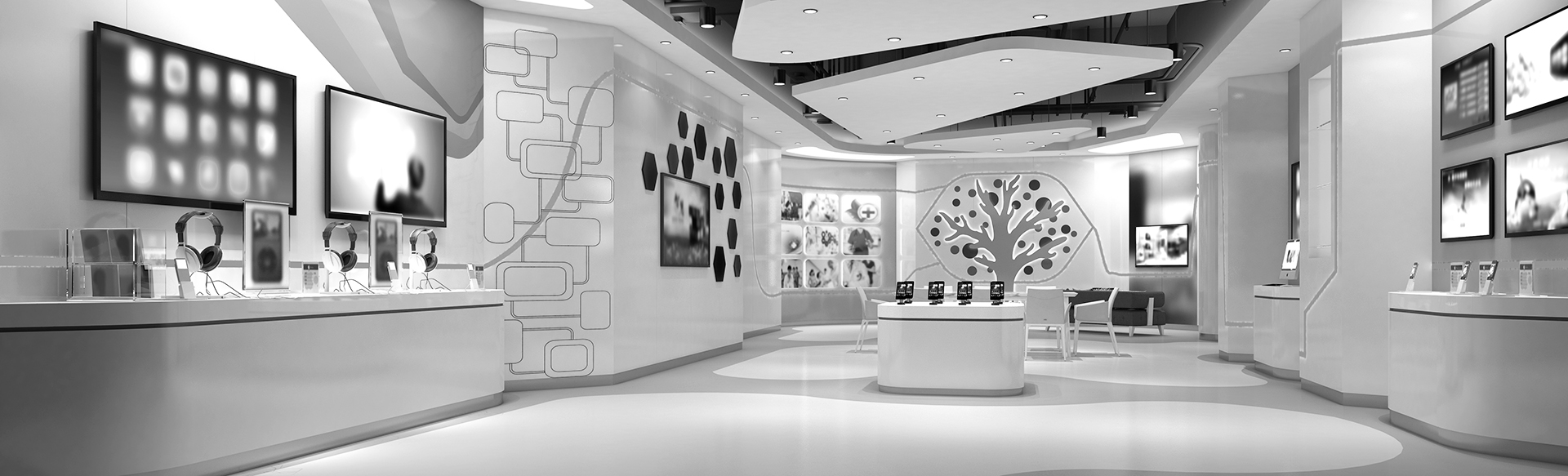 black and white image of modern technology retail store AMI Strategies offers AI-powered software